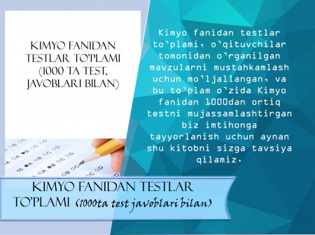 Kimyo fanidan testlar