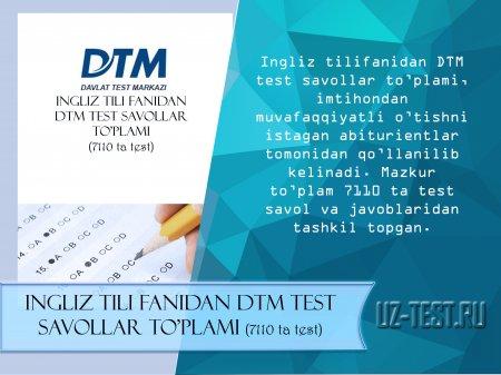 Ingliz tili fanidan DTM test savollari(7110 ta test)